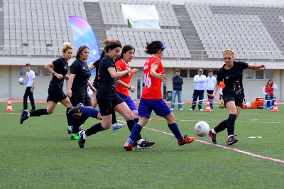 Turkish women football players celebrate the power of sports . Photo:Girls on the field