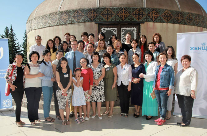 Group photo of the participants of the Gender Summer School at Issyk-Kul, Kyrgyzstan. Photo: UN Women Kyrgyzstan