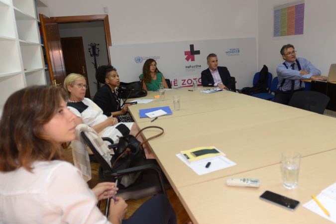Discussing partnership with private sector during the meeting with the Executive Director of Vodafone Foundation in Albania, Albi Greva. Vodafone Albania is supporting and jointly implementing with UN Women a new HeForShe initiative in the Albanian football stadiums. Photo: UN Women/Violana Murataj