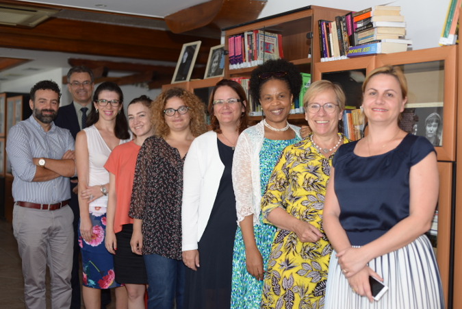 UN Women Regional Director for Europe and Central Asia and Representative to Turkey, Ingibjorg Gisladottir and UN Women Chief of Staff Khetsiwe Dlamini and exchange ideas on the key role of Civil Society Organizations in changing the lives of all citizens, women and men alike, during their visit at the first feminist library in the country, established by Gender Alliance for Development Center. Photo: UN Women/Violana Murataj