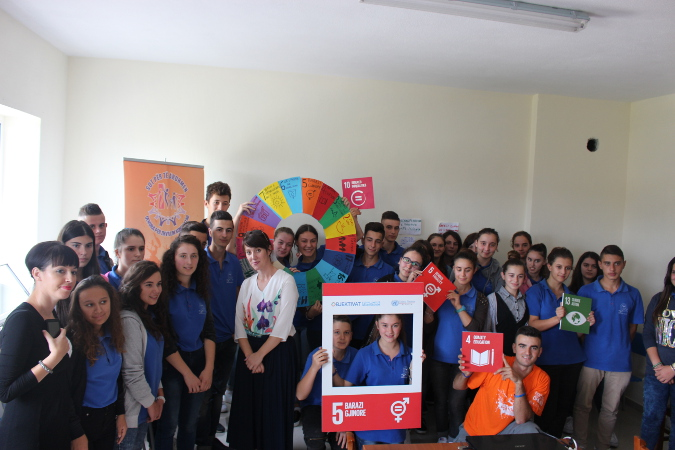 High school students in Ndroq, rural Tirana, Albania learn about the Global Goals with a particular focus on SDG5, gender equality. Photo: Yllka Parllaku/ UN Women Albania