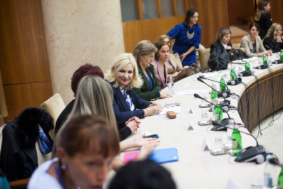 The group met with Zorana Mihajlovic, President of the Government of Serbia Coordinating Body for Gender Equality.  Photo by Igor Pavicevic