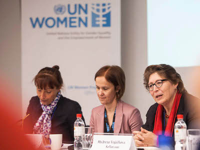 Milana Rikanovic, head of UN Women in Serbia, and Irena Vojackova-Sollorano, UN Resident Coordinator & UNDP Resident Representative – Serbia at the opening session. Photo by Igor Pavicevic.