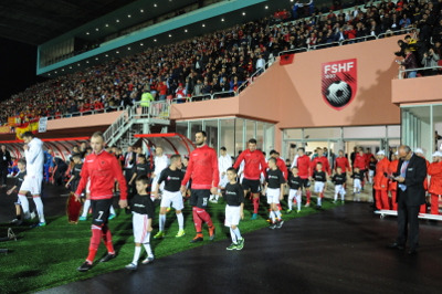 During the World Cup Qualifiers match between Albania Vs. Spain, HeForShe solidarity movement was echoed amid thousands of football fans in 'Selman Stermasi' Stadium – Shkoder. Photo: LSA