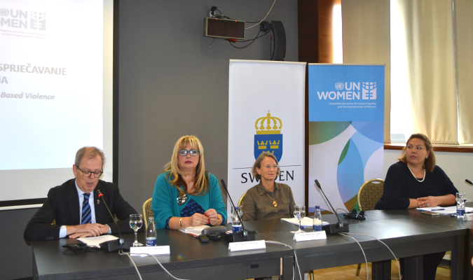"""Gender equality has benefits not only for women and girls but for all of us,"" said H.E. Anders Hagelberg, the Ambassador of Sweden to Bosnia and Herzegovina at conference Photo: UN Women"