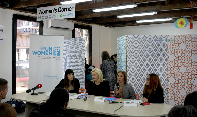 Opening speeches (from left to right): Maja Lalic, Zorana Mihajlovic, Milana Rikanovic and Barbara Chiarenza Photo: UN Women/ Bojana Barlovac