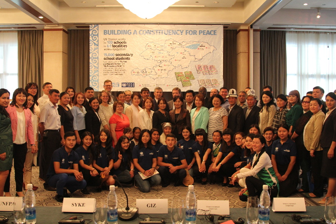 """Group photo from the final conference on the results of the UN Women, project """"Building a Constituency for Peace"""" Photo: UN Women/Meriza Emilbekova"""