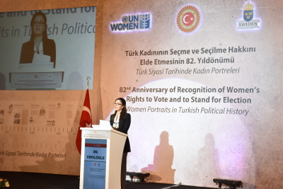 Fulya Vekiloğlu, UN Women Turkey Office Country Program Director making her speech Photo: UN Women