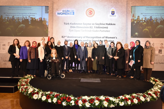 Binali Yıldırım, Turkish Prime Minister, Fatma Betül Sayan Kaya, Minister of Family and Social Policies, Radiye Sezer Katırcıoğlu, EOC Chairperson, Fulya Vekiloğlu, UN Women Turkey Office Country Program Director, EOC parliamentarians, women parliamentarians, and representatives from Sweden Embassy