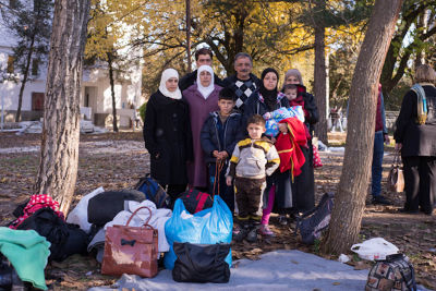 Whole families are on the move and pass through the one stop center in Presevo, Serbia. Photo credit: Mirjana Nedeva