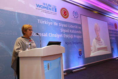 Ingibjörg Solrun Gisladottir, UN Women Regional Director for Europe and Central Asia and Representative to Turkey, at the project launch in Ankara. Photo: UN Women