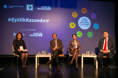 Opening panel (from left) Mehmet Ali Çalışkan, who is the Chairman of the Board of Trustees of Yaşama Dair Vakıf (YADA Foundation), UN Women Regional Director for Europe and Central Asia and Representative to Turkey Ingibjorg Gisladottir, UNFPA Representative to Turkey and Country Director for Azerbaijan and Georgia Karl Kulessa and Mustafa Seçkin, the Chairman of the Board of Directors of Global Compact Turkey