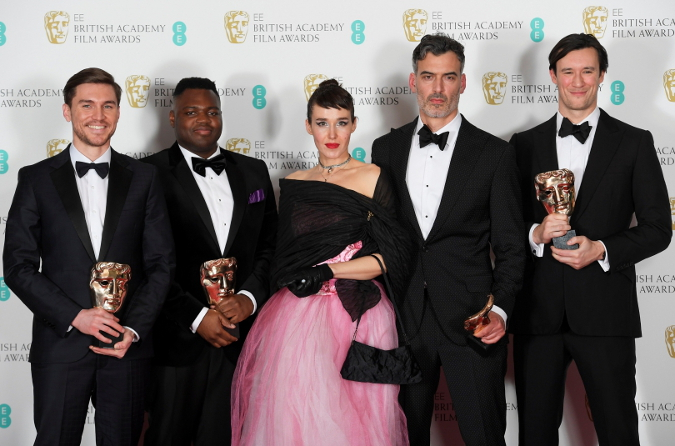 From right, Producer Scott O'Donnell, Director Daniel Mulloy, Producer Arta Dobroshi, Producer Afolabi Kuti, and Producer Shpat Deda at the BAFTA Award Ceremony Photo Credit: Official BAFTA Ceremony Photography