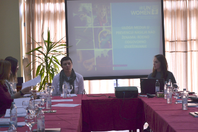 Journalists and activists attend a seminar on good practices when it comes to reporting on gender-based violence and violence against women. Photo: UN Women/Aleksandra Kuljanin