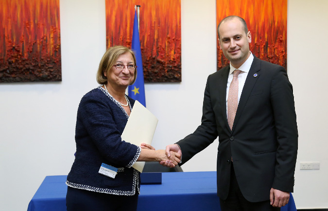 Mikheil Janelidze, Minister of Foreign Affairs of Georgia deposited the instrument of ratification in respect of the Council of Europe Convention to Gabriella Battaini-Dragoni, Deputy Secretary General of the Council of Europe; Photo: The Ministry of Foreign Affairs of Georgia - See more at: http://georgia.unwomen.org/en/news/stories/2017/05/georgia-ratifies-the-istanbul-convention#sthash.3T5iGnjK.dpuf