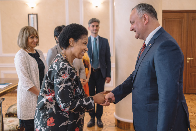 Ms. Phumzile Mlambo-Ngcuka at the meeting with Igor Dodon, President of Moldova. Chisinau, Republic of Moldova.  Photo: UN Women Moldova/Ramin Mazur