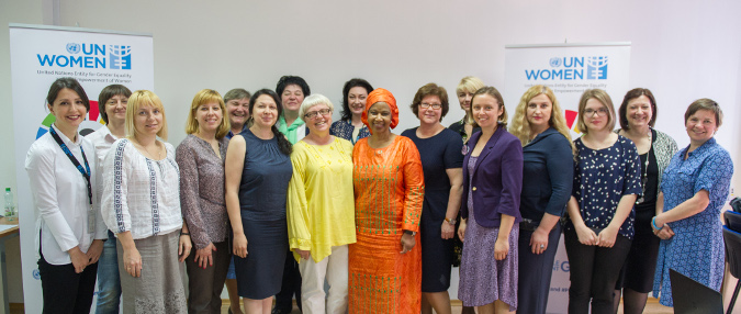 UN Women Executive Director, Phumzile Mlambo-Ngcuka with meeting participants. Photo: UN Women/Volodymyr Shuvayev