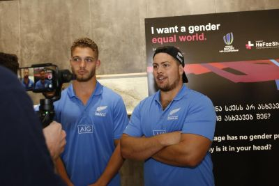 New Zealand's rugby players talking about gender equality and empowering of girls through sports; Photo: UN Women/Maka Gogaladze
