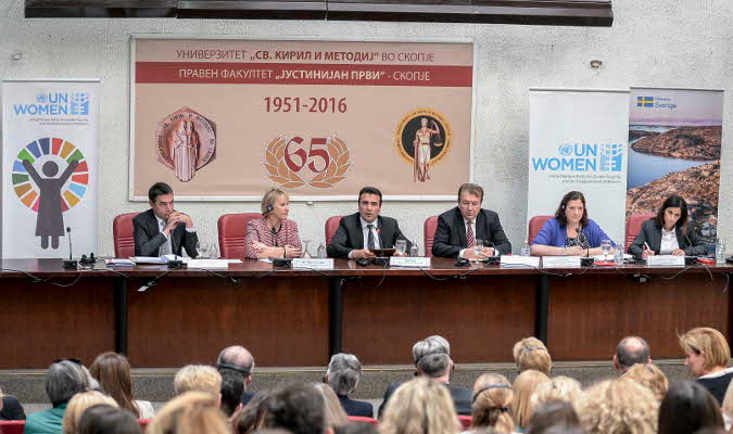 (from left to right) Nikola Dimitrov, Minister for Foreign Affairs of the Former Yugoslav Republic (FYR) of Macedonia; Margot Wallström, Minister for Foreign Affairs of Sweden; Zoran Zaev, Prime Minister of FYR Macedonia; Professor Nikola Jankulovski, Rector of Ss Cyril and Methodius University; Alia El-Yassir, Regional Director a.i., UN Women Europe and Central Asia; Dominika Stojanoska, Head of UN Women Office in Skopje. Photo: UN Women/Mirjana Nedeva