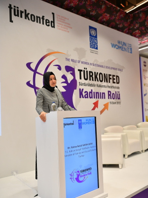 the Minister of Family and Social Policies Fatma Betül Sayan Kaya. Photo: TURKONFED