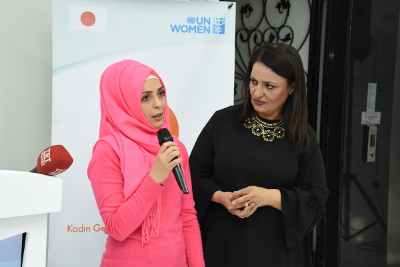One of the beneficiaries of SADA Women-only Centre shared her experience in the centre. Photo: UN Women
