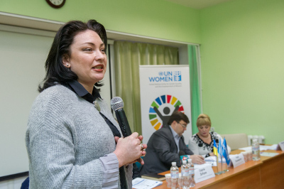 Anastasia Divinskaya, UN Women Country Programme Manager/Head of Office in Ukraine, highlighted that UN Women's role is to support women's leadership in ensuring that their needs and priorities are met. Photo: UN Women/Volodymyr Shuvayev
