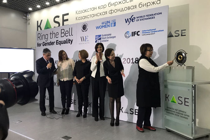 Raushan Sarsenbayeva, President of the Association of Business Women of Kazakhstan, rings the bell for gender equality at Kazakhstan Stock Exchange in Almaty on March 7, 2018. Photo credit: KASE press-service