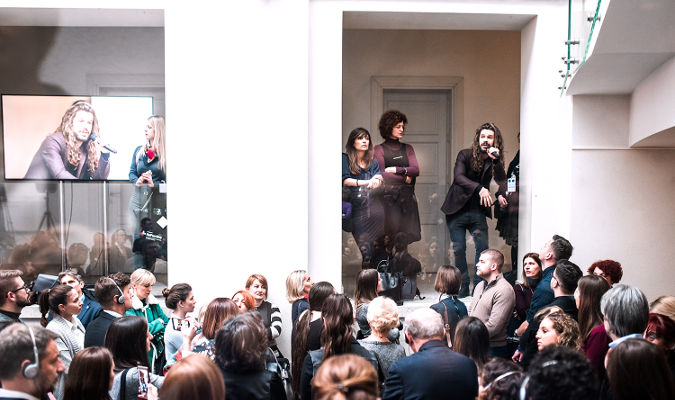 Serbian musician Vukasin Markovic calling for gender equality on the International Women's Day at the Yugoslav Film Archive on March 8. Photo by UN Women/Marija Piroski