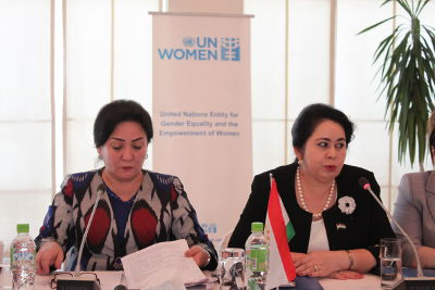 (from left to right) Ms. Olimi Marhabo, Deputy Head of the Committee on Women and Family Affairs and Ms. Hilolbi Kurbonzoda, Representative from the Parliament of the Republic of Tajikistan. UN Women/Aida Bahrami