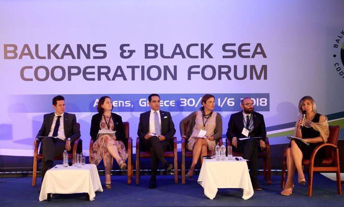 (left to right) Arda Batu, Secretary General of Turkish Business Confederation TURKONFED; Paula Byrne, Business Development Director of CSR Europe; Bora Tuncer, Schneider Electric Cluster President of Turkey-Iran & Central Asia; Raina Ekaterina, CEO, Hellenic Corporation of Assets & Participations; David Gorgiladze, Head of Public Relations and Corporate Social Responsibility, M2 Real Estate; Meral Guzel, WEPs Policy Specialist, UN Women. Photo: Balkans and the Black Sea Forum