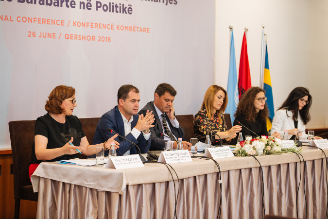 From left to right: Dhurata Çupi, Chair of Alliance of Women MPs; Oerd Bylykbashi, Co-Chair of Ad-Hoc Committee on Electoral Reform, Sean Melbourne, Deputy Head of Mission, British Embassy; Blerina Gjylameti, Member of Ad-Hoc Committee on Electoral Reform; Mrs. Silva Caka, General Secretary, Alliance of Women MPs, Fiorela Shalsi, UN Women National Programme Manager. UN Women Albania / Armand Habazaj