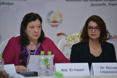 Alia El-Yassir (right), Regional Director a.i. for UN Women in Europe and Central Asia and HRH Princess Dr. Nisreen El-Hashemite (right), Founder and President of Women in Science International League and the Executive Director of the Royal Academy of Science International Trust (RASIT). UN Women/Bakhriddin Isamutdinov