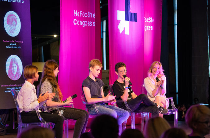 (left to right) Polina Rubis, DJ, Elizaveta Godovikova, Inventor, Nikita Shulga, co-founder of eco-project, and Lev Shurov, singer, HeForShe advocate, spoke about gender stereotypes perceived by generation Z at the HeForShe Congress. The discussion was facilitated by Violeta Vanchuk, Marketing Director of Luxoptica. Photo: UN Women/Volodymyr Shuvayev