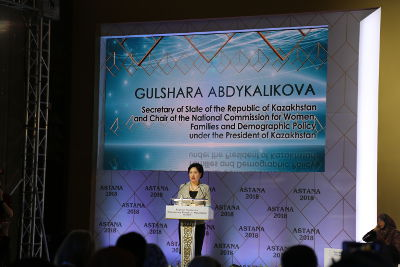 Gulshara Abdykalikova, the State Secretary of Kazakhstan, welcomes the participants of the conference. Photo: UN Women Kazakhstan/Sabina Mendybayeva