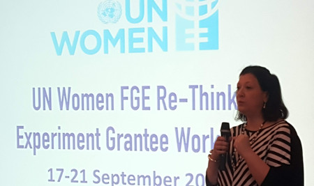 Alia El Yassir, UN Women's Regional Director for Europe and Central Asia welcomes participants to the Fund for Gender Equality's 'Re-Think. Experiment' workshop in Istanbul.  UN Women / Sara de la Peña