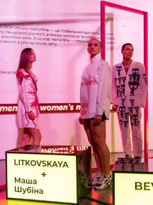 HeForShe capsule collection at the Ukrainian Fashion Week, SS 2019. Photo: UN Women/Volodymyr Shuvayev
