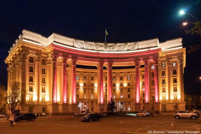The Ministry of Foreign Affairs of Ukraine illuminated in signature magenta in support of HeForShe movement. UN Women/Volodymyr Shuvayev