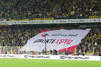 HeForShe Banner in the Stadium. Photo: Fenerbahce Sports Club