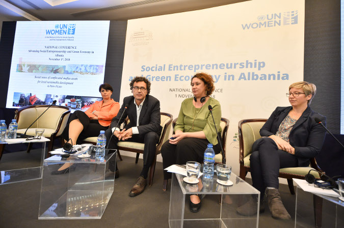 Speakers from Albania, Italy and Germany at the national Conference on Social Entrepreneurship and Green Economy organized in Albania Credit: UN Women/Eduard Pagria