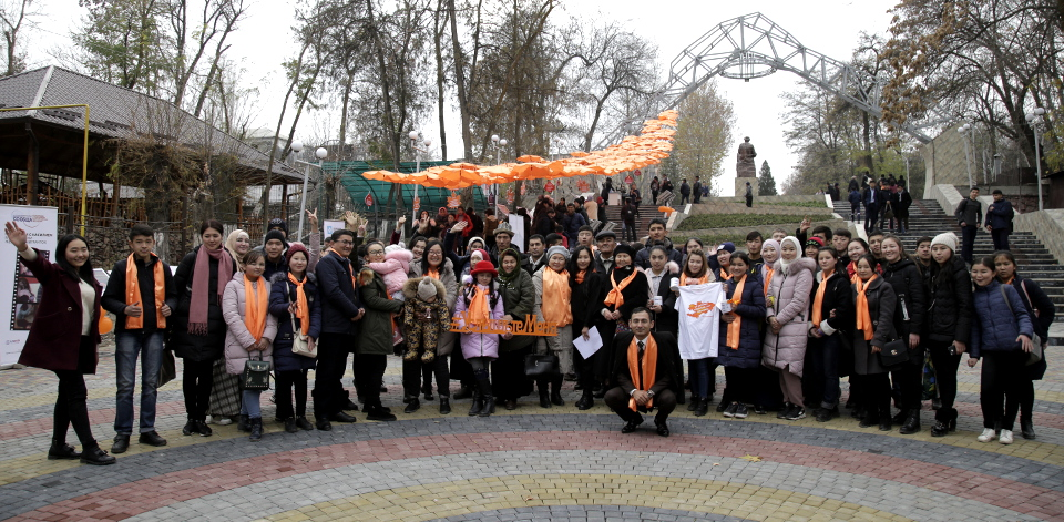 First ever Orange Umbrella Alley to symbolize protection of human rights, particularly rights of women and girls to be free from gender-based violence. Osh, Kyrgyzstan. Photo: ISEDA Kyrgyzstan.