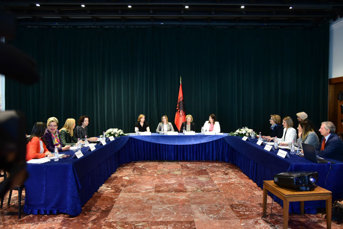 Regional roundtable on gender equality with representatives from Albania, Bosnia, Georgia, Kosovo, Macedonia, Moldova and Serbia  Credit: Office of the Deputy Prime Minister of Albania