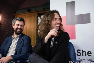 Anton Drobovych, an expert in culture and philosophy, and Andriy Klen, co-founder of the IT startup PetCube responding to the questions of the audience at the HeForShe Barbershop Talk. Photo: UN Women/Roman Shalamov