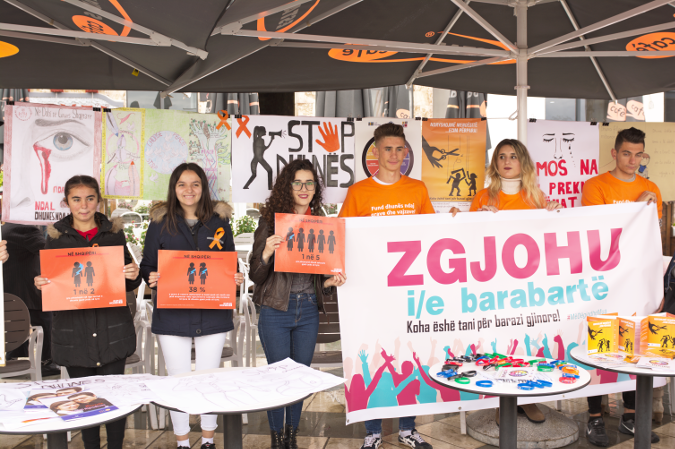 Around 100 students from marched in Belsh against gender-based violence during the 16 days campaign. Photo credit: UN Women Albania