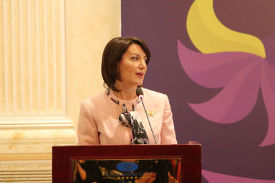 Atifete Jahjaga, former President and Founder of the Jahjaha Foundation, opens the international conference with welcoming remarks. Photo: Jahjaga Foundation