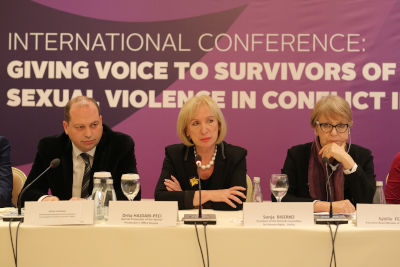 Panelists from Kosovo Institutions sharing insights into their work on conflict-related sexual violence. Photo: Jahjaga Foundation