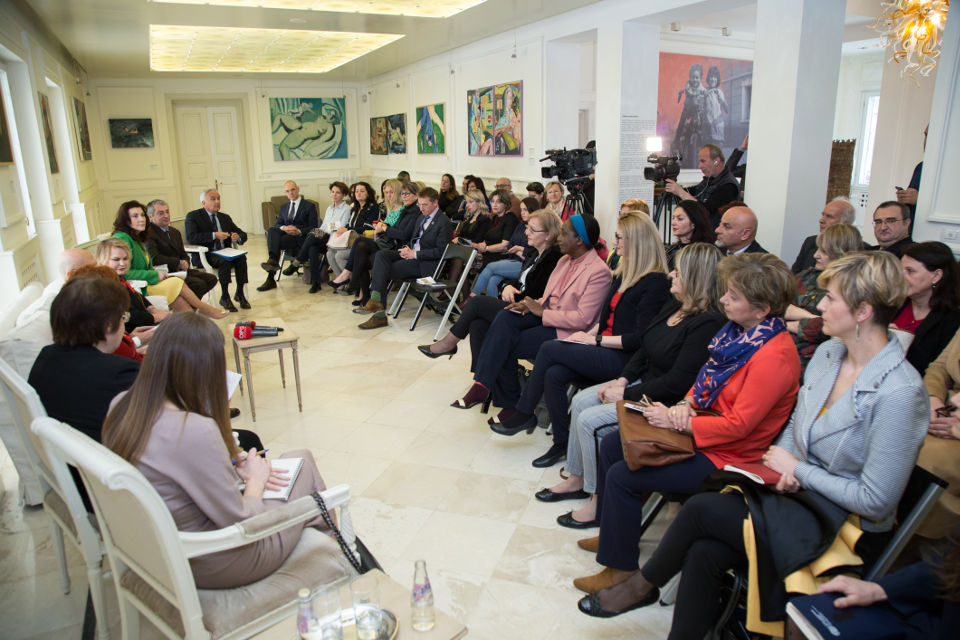 Women members of parliament, ambassadors, civil society organizations and academia, in the event organized by the Italian Embassy in Albania and UN Women. Photo credit: Italian Embassy in Tirana