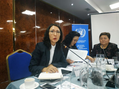 Nurgul Asylbekova, Acting Head of UN Women Country Office in Kyrgyzstan, with an opening speech at the Beijing+25 national consultations. Photo: Aikanysh Kerimkulova/UN Women Kyrgyzstan