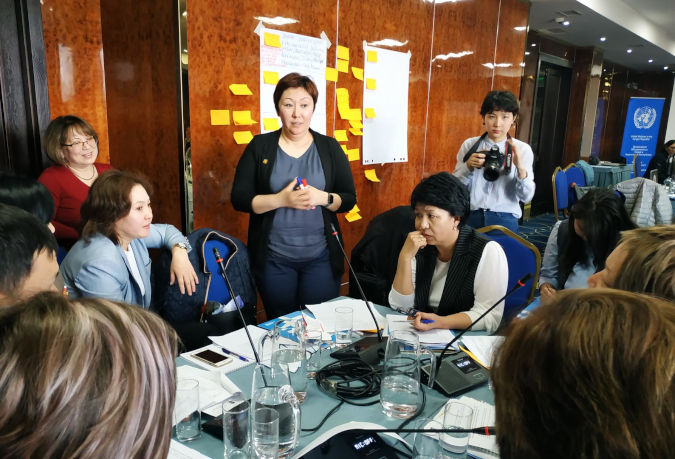 Group discussion on defining key priorities and challenges in the area of promoting gender equality and the empowerment of women. Photo: Aikanysh Kerimkulova/UN Women Kyrgyzstan