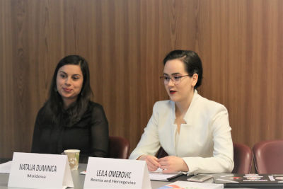 """Natalia Duminica, Roma women's rights activist and Lejla Omerovic, """"IT Girl"""" from Bosnia and Herzegovina at Side Event on education and gender equality. UN Women/Gizem Yarbil Gurol"""