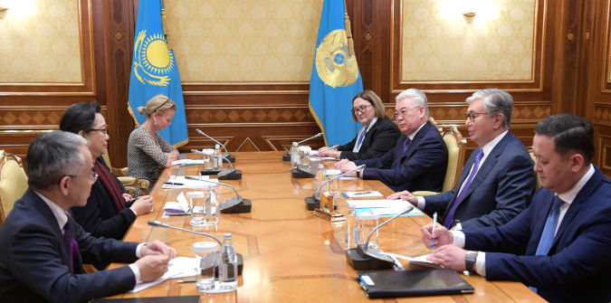 UN Women Deputy Executive Director Åsa Régner in a meeting with Kazakh President Kassym-Zhomart Tokayev. Photo: Akorda, Kazakhstan